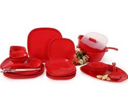Joy Home Microwave Safe Dinner Set – 32 Pcs (Square, Cherry Red)