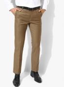 Arrow Khaki Solid Regular Fit Formal Trouser