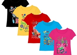 Kiddeo Girls Printed Cotton T Shirt  (Multicolor, Pack of 5)