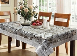 Kuber Industries™ Waterproof Dining Table Cover 6 Seater 60*90 Inches (Exclusive 3D Design With Silver Lace)