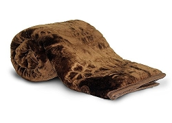 Little India Rich Look Soft Embossed Floral Microfibre Single Blanket – Brown