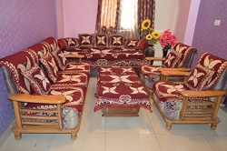 Living Room Set Poly Cotton Maroon Flower House Attire