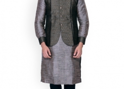 Manyavar Grey & Black Kurta Pyjama with Nehru Jacket