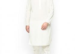 Manyavar Men Cream-Coloured Embroidered Kurta Pyjama