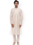 Manyavar Men White Embroidered Kurta with Pyjamas