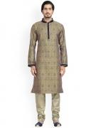 Manyavar Men Yellow & Blue Self Design Kurta with Churidar