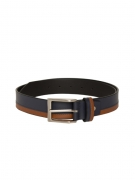 Mast & Harbour Men Navy Blue & Tan Leather Striped Belt