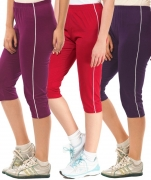 Minnow Capri For Girls Casual Solid Cotton  (Multicolor Pack of 3)