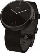Motorola Moto 360 Black Leather Smartwatch  (Black Strap)