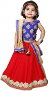 NAJARA FASHION Girls Lehenga Choli Ethnic Wear Printed Lehenga, Choli and Dupatta Set  (Red, Pack of 1)