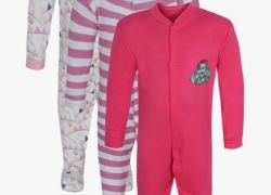 NammaBaby Romper For Girls Printed Cotton  (Pink)