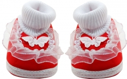 Neska Moda Frill Butterfly Booties  (Toe to Heel Length – 11 cm Red)