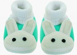 Neska Moda Rabbit Booties  (Toe to Heel Length – 12 cm Green, White)