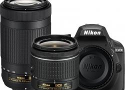Nikon D3400 DSLR Camera Body with Dual Lens: AF-P DX NIKKOR 18-55 mm f/3.5 – 5.6G VR + AF-P DX NIKKOR 70-300 mm f/4.5 – 6.3G ED VR (16 GB SD Card + Camera Bag)  (Black)