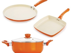 Nirlon Aluminium Cookware Set, 1.5 Litre, 3-Pieces, Orange (CC_FT28_GP_Cas22)