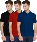 Polo Nation Solid Men's Polo Neck Dark Blue, Red, Blue T-Shirt  (Pack of 3)