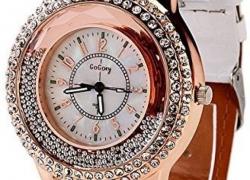 PremiumAV New Fashion Ladies Watch Crystal Rhinestone PU Leather Watches quicksand Women Dress Quartz Wristwatch Hours Reloj Mujer Smartwatch  (Black Strap Free Size)