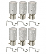 Prushti Fashion SET OF 6 SILVER CURTAIN BRACKET FOR DOOR&WINDOW