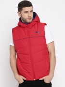 Puma Men Red Solid Padded ESS 400 VEST Hooded Jacket