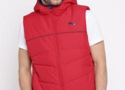 Puma Men Red Solid Padded ESS 400 VEST Hooded Jacket