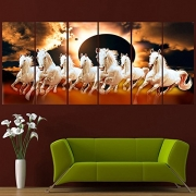 Ray Décor's(54 inch x 24 inch)Sparkling Seven Horses Wall Painting-6 Frames- Wall Decor Wall Decals Wall Hangings Home Decor painting