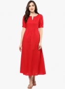 Jaipur KurtiPOPULAR Red Solid Maxi Dress