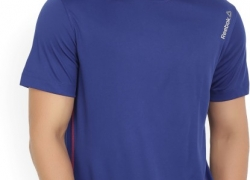 Reebok Solid Men's Round Neck Blue T-Shirt