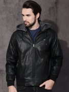 Roadster Men Black Solid Biker Jacket