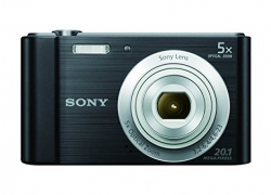 Sony DSC-W800 20.1 MP Point and Shoot Digital Camera (Black) with 5x optical zoom, Memory Card, Camera Case