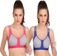 Urbaano Women's Sports Non Padded Bra  (Maroon, Pink, Blue)