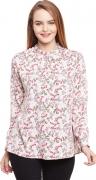 The Vanca Formal Full Sleeve Printed Women's White Top